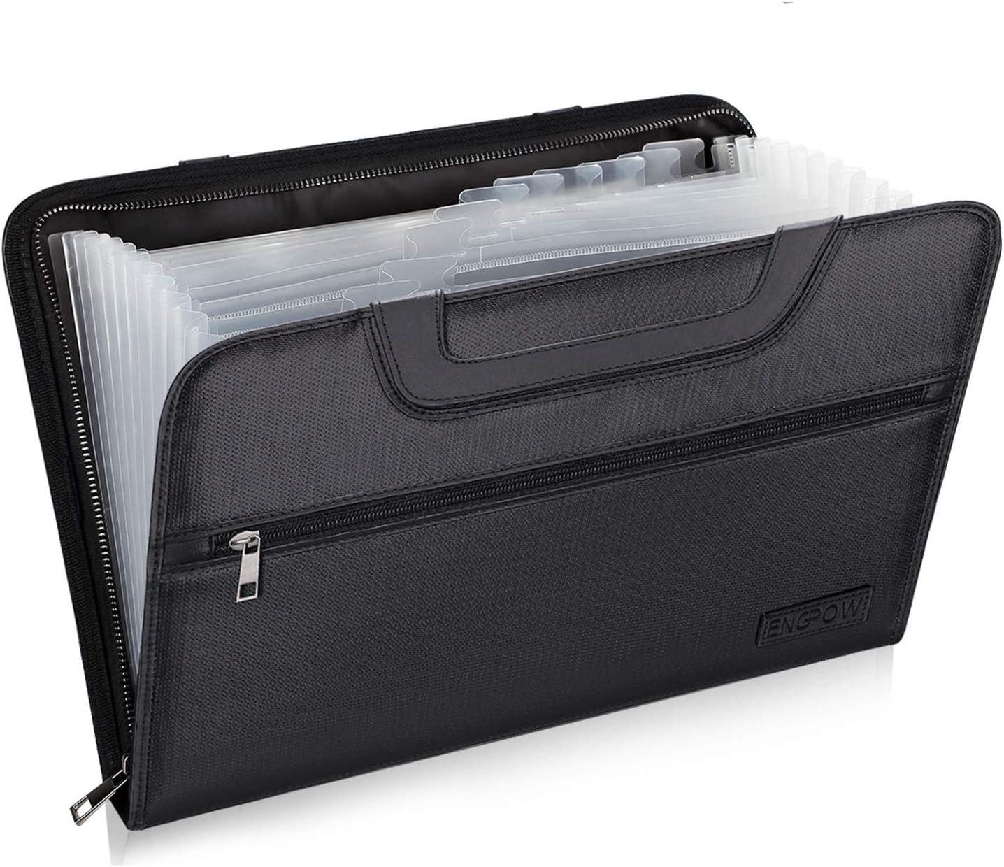 Portable A4 Accordion Expanding File Folder Bag Organizer with Zipper Handle