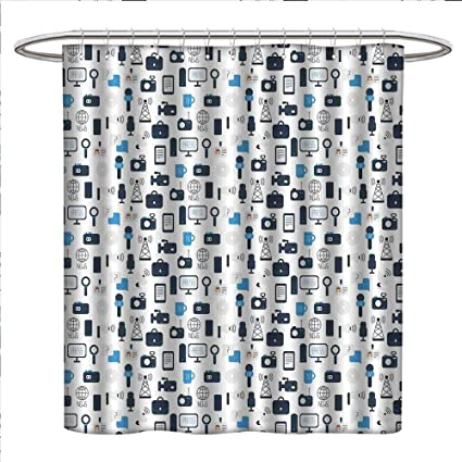Amazon Com Bybyhome Blue And White Shower Curtains Fabric Extra