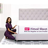 "California King Size Fitted Sheet Only – [10"" Pockets] Standard to Low Profile Fitted Sheets – Best Fit for 8""–12…"