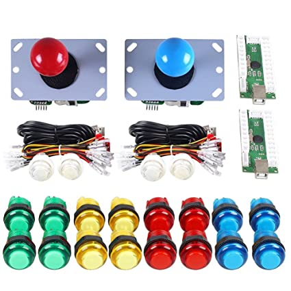 Gamelec 2-Players Arcade Game Buttons and Joystick Controller Kit for  Raspberry Pi and PC Games,Red Joystick and 10x LED Illuminated Push Buttons  DIY
