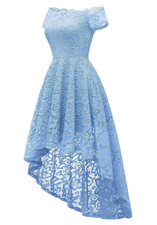 Dressystar Womens Lace Off Shoulder Cocktail Hi-Lo Bridesmaid Swing Dress