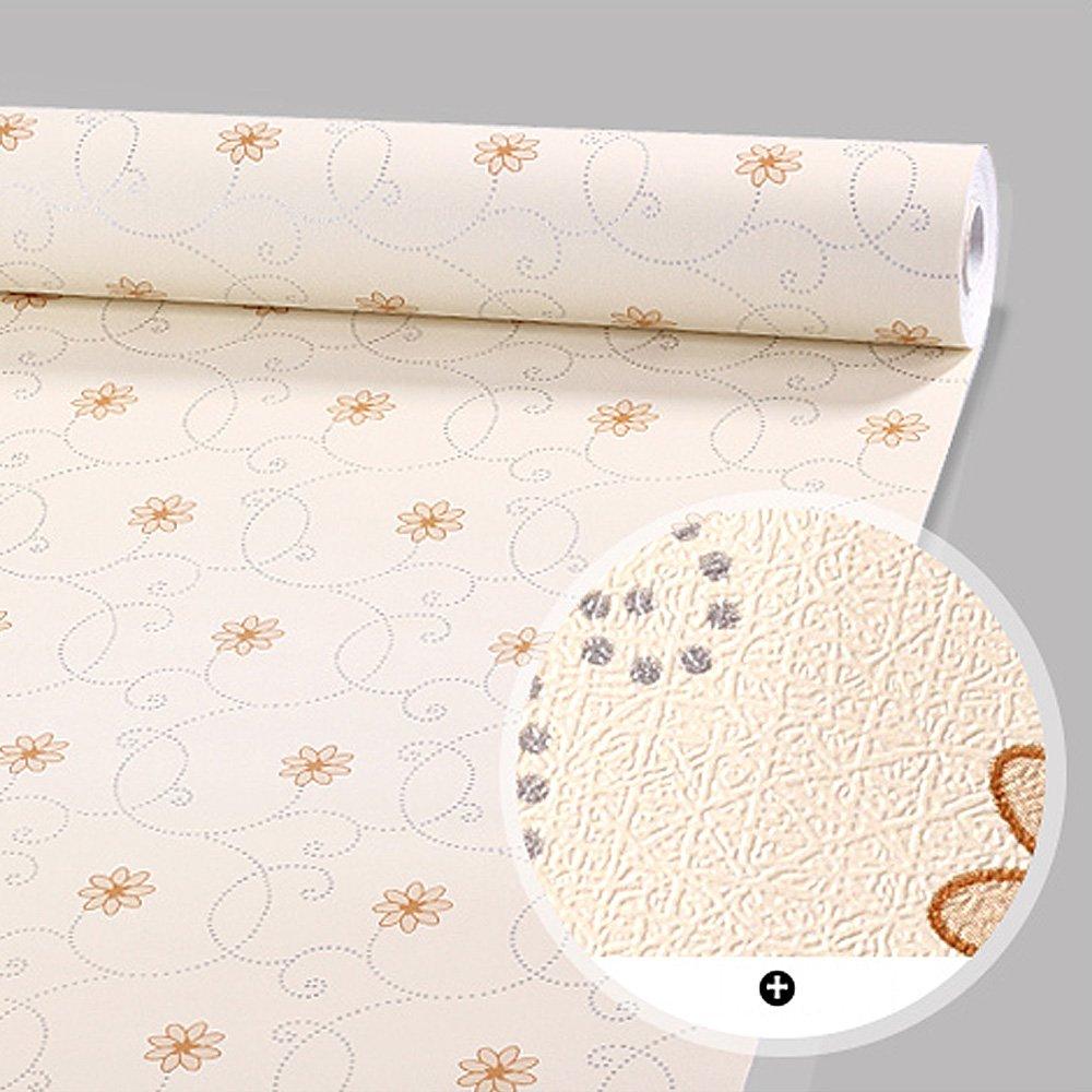 SimpleLife4U Beige Flower Self-Adhesive Shelf Drawer Liner Moisture Proof PVC Contact Paper 45x300cm