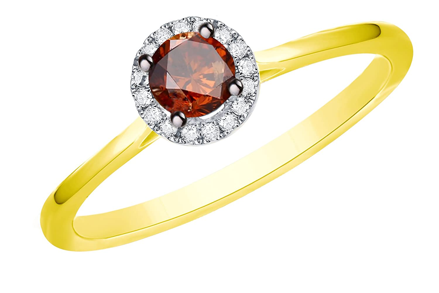 Prism Jewel 0.38Ct Cognac Diamond Surrounded White Diamond Engagement Ring