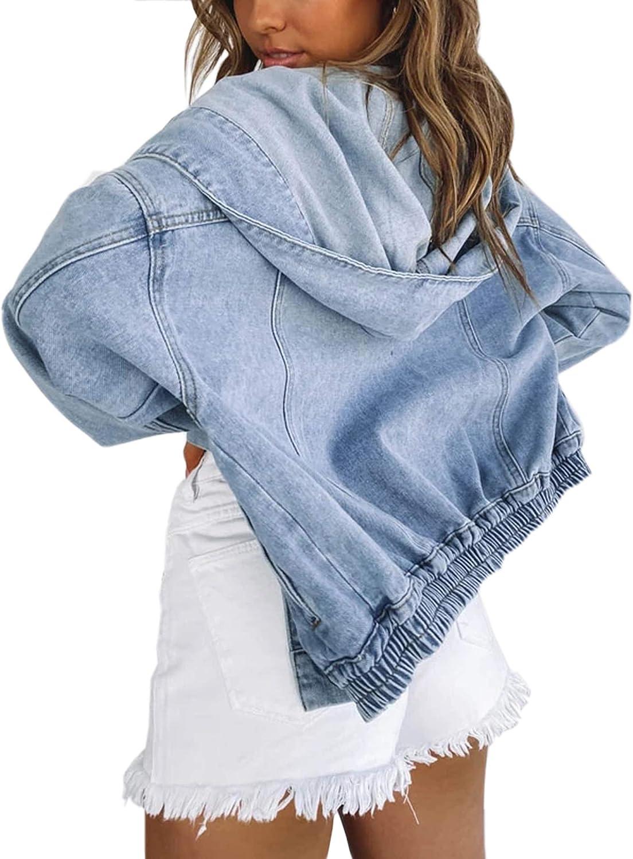Jean Jacket Women Oversized Black Denim Jacket