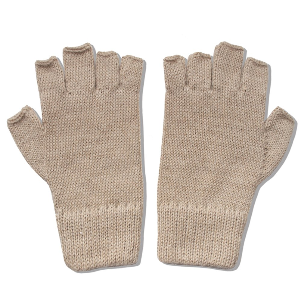 The Alpaca Collection, 100% Alpaca Wool Knit Fingerless Gloves Lt Beige Small