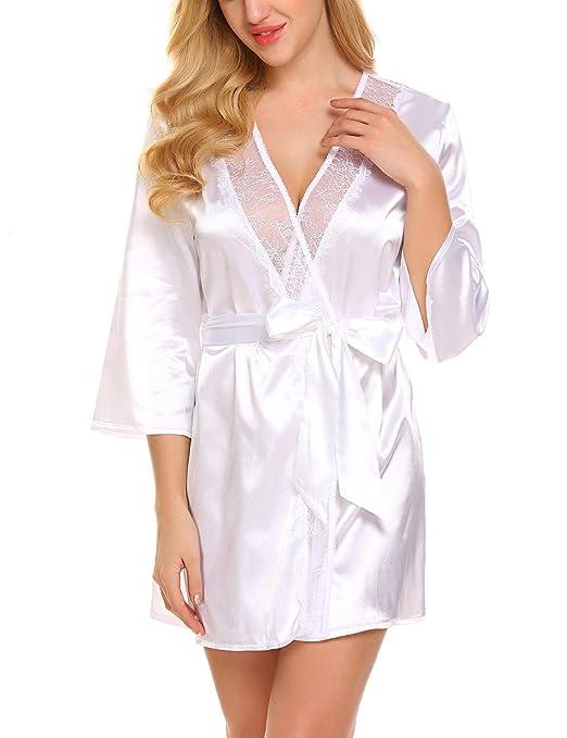 Avidlove Camisones Mujer Sexy Batas y Kimono con Cinturón Pijama Satén Mujer Encaje Elegante: Amazon.es: Ropa y accesorios