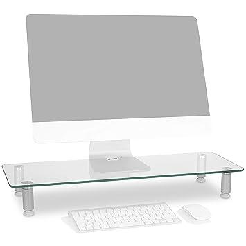 Duronic DM052-3 Soporte Monitor Ajustable, Elevador para Pantalla, Ordenador Portátil, Televisor, Medidas 70x24 cm, Cristal Transparente, Soporta hasta 40 ...