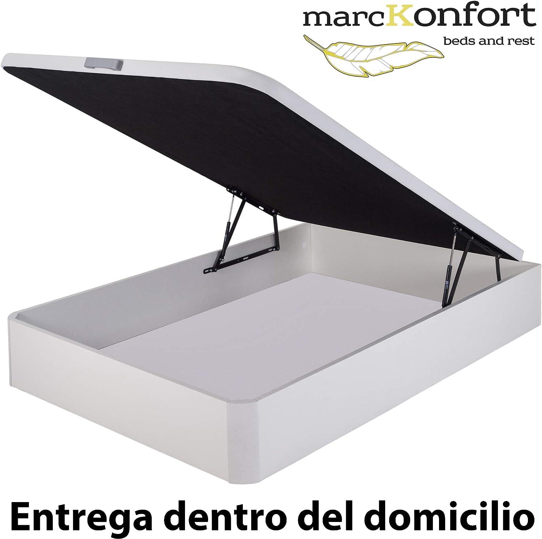 marckonfort Canapé abatible 90X190 de Gran Capacidad con Esquinas Redondeadas en Madera, Base tapizada 3D Transpirable Color Blanco