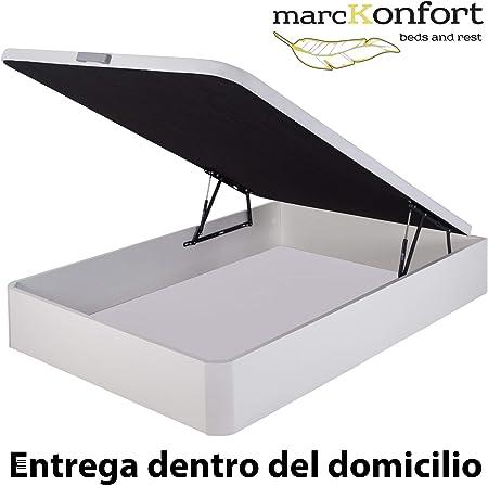 marckonfort Canapé abatible 135X190 de Gran Capacidad con Esquinas Redondeadas en Madera, Base tapizada 3D Transpirable Color Blanco