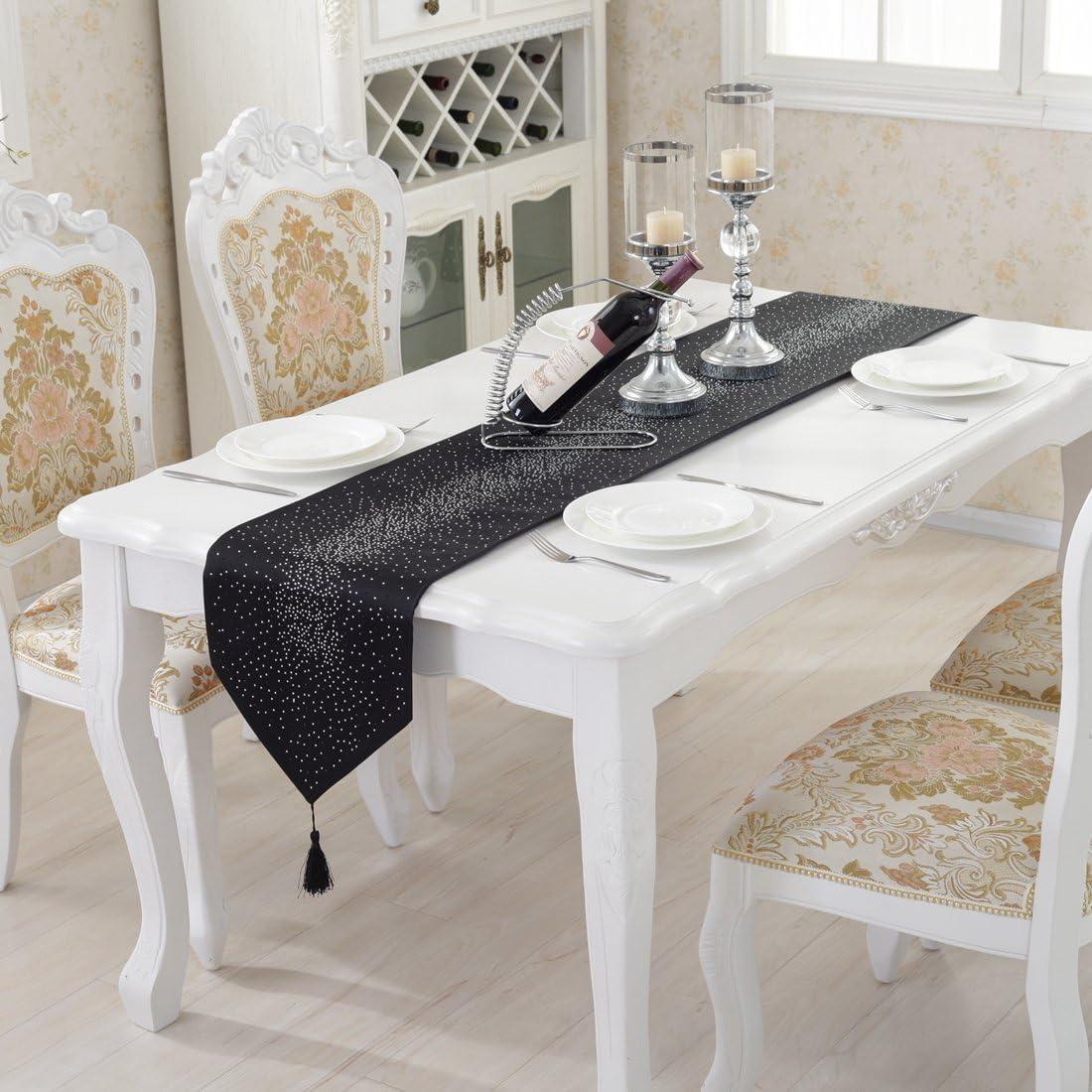 33 * 160cm Bianco 12.5*63 Lusso Lucido Diamante Luminoso Star Damascato Seta Nappa Home Pollo Decorativo Runner