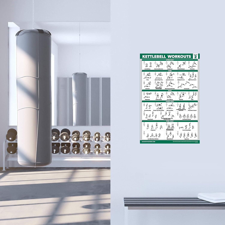 QuickFit 2 St/ück Kettlebell Workout /Übungsposter Volume 1 /& 2 laminiert, 45,7 x 68,6 cm