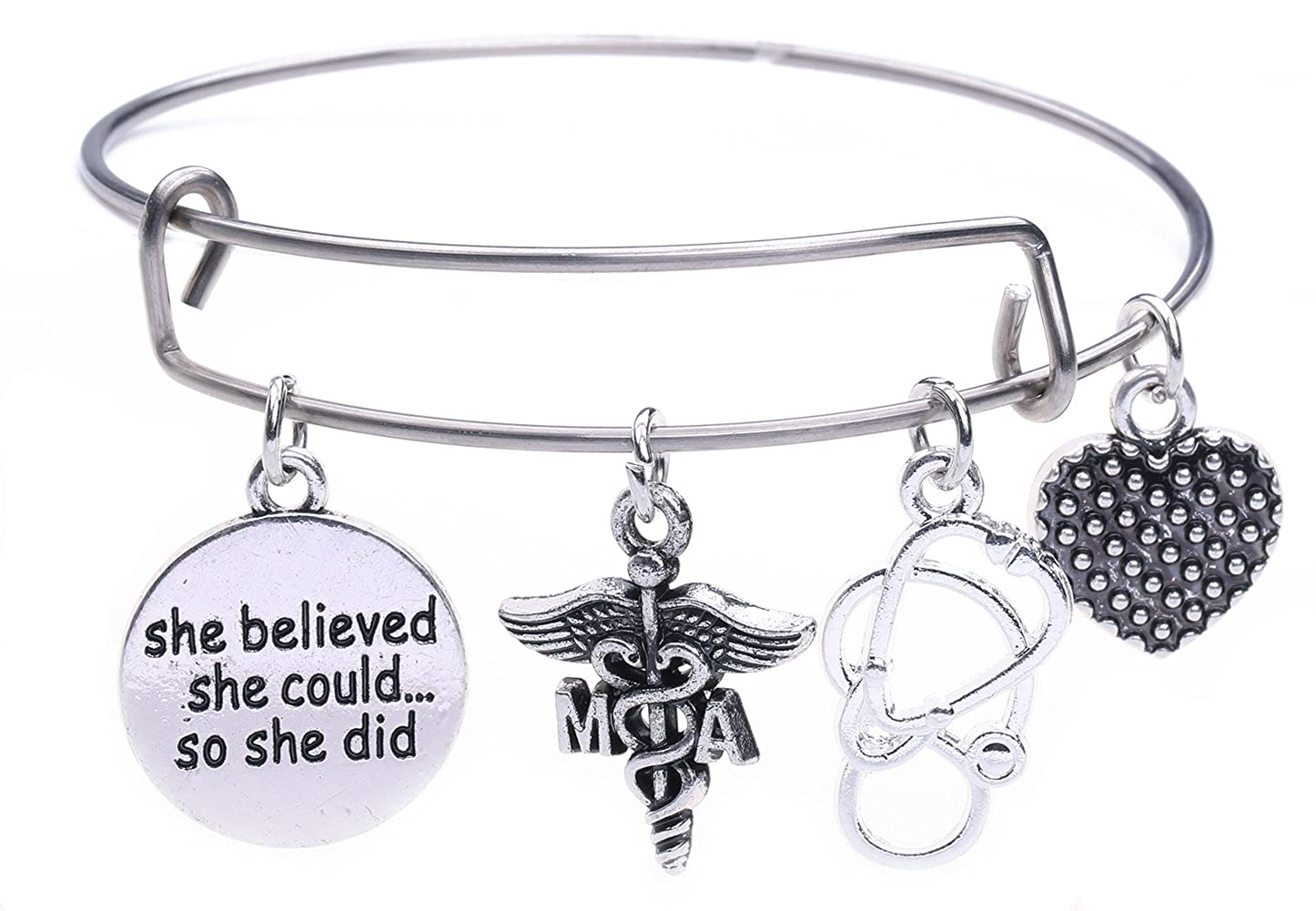Dawapara Medical Assistant MA Caduceus Charm Stainless Steel Bracelet Bangle Medical Jewelry for Graduation Gift