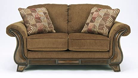 Ashley Furniture Signature Design   Montgomery Loveseat Sofa   Traditional  Style Couch   Mocha Brown