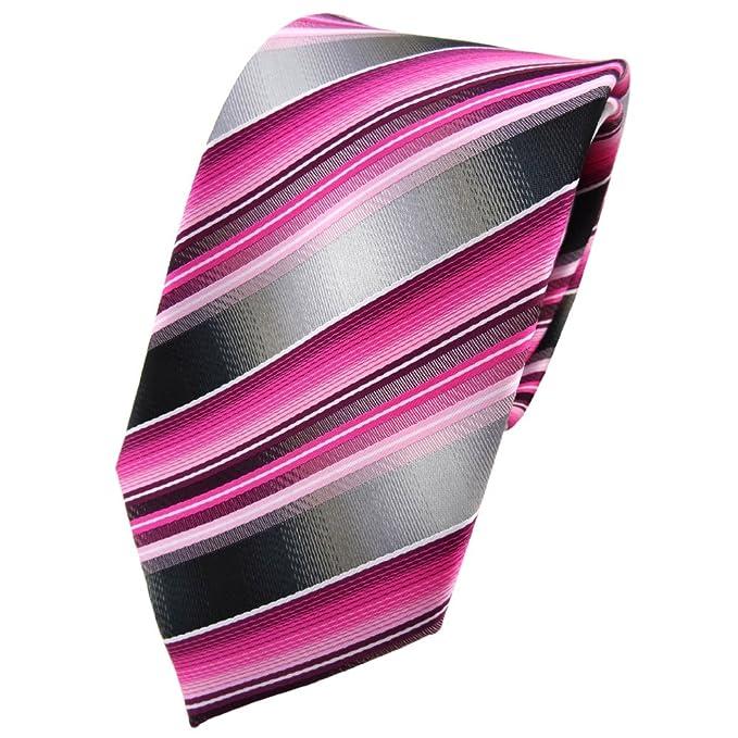 TigerTie Designer Krawatte violett flieder rosa magenta schwarz gestreift