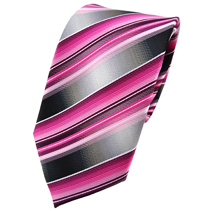 TigerTie - Corbata - rosa pink magenta antracita plata gris rayas ...