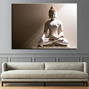1 Pieces Modern Home Decor Pictures For Living Room White Marble Buddha Wall Art Posters Canvas Paintings No Frame