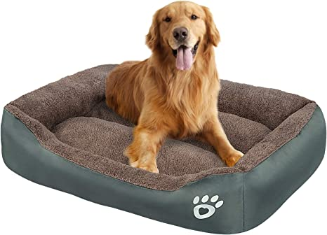 Amazon Com Oqq Long Rich Reversible Rectangle Pet Bed Dog Bed With Dog Paw Embroidery Three Size Suitable For Medium Dogs Puppies Or Jumbo Pets Pet Supplies