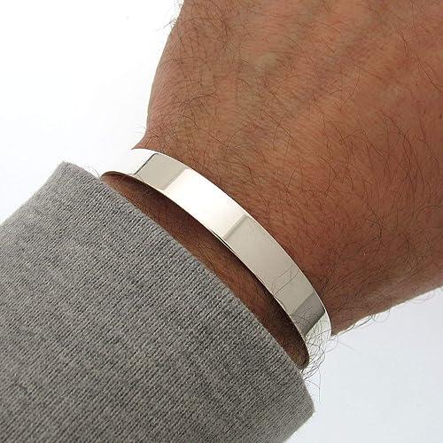 0e0a9a44457 Amazon.com: Sterling Silver Plain Cuff bracelet. Flat Cuff Bangle for Men.  High Polished Silver Cuff. Mens Cuff Bracelet. Solid Sterling Silver 925:  ...
