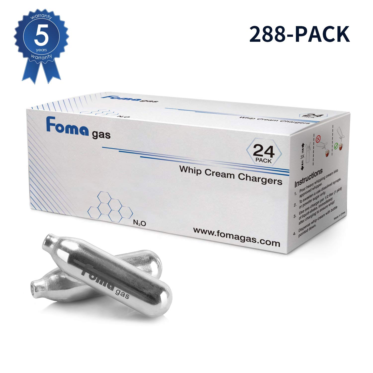 Foma Gas Pure Food Grade whipped cream chargers N2O Whip Cream Chargers, Pack of 288
