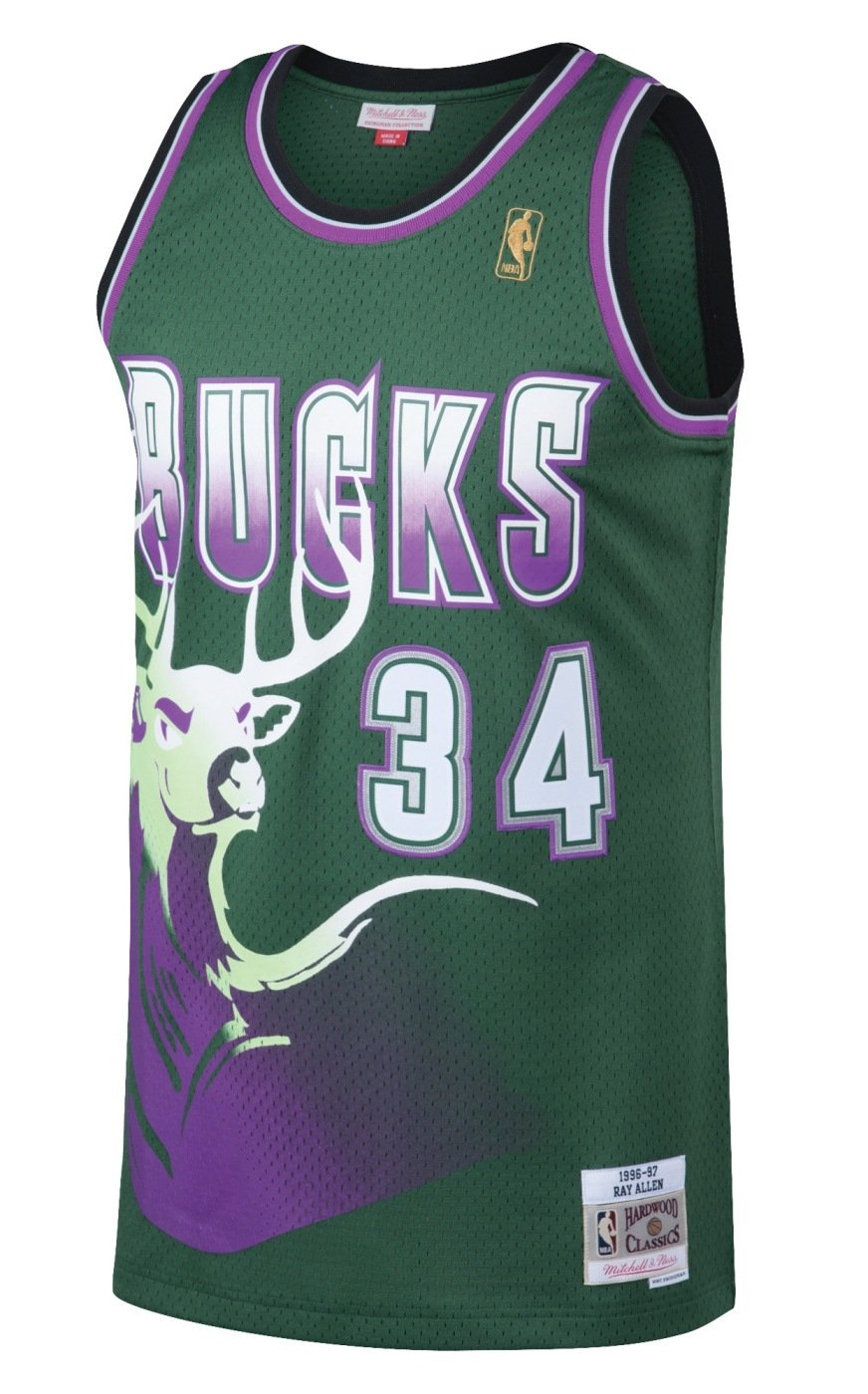 hot sale 0b84c d34a1 Ray Allen Milwaukee Bucks Mitchell and Ness Men's Green Throwback Jesey