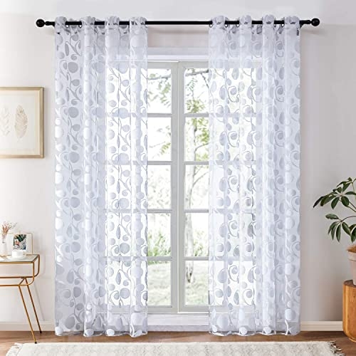 Topfinel Uragiri Sheer Curtains 96 Inches Long Voile Grommet Window Curtains for Bedroom Living Room, Silver Grey, 2 Panels