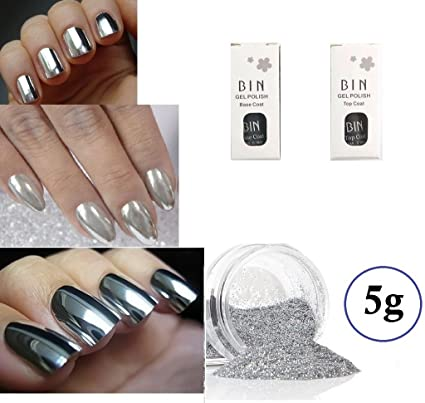 zaralyn 5 G Plata cromado Kit de uñas postizas color espejo efecto cromado Kit Polvo de