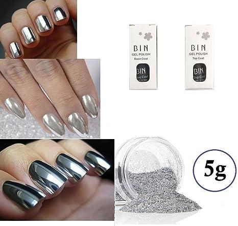 zaralyn 5 G Plata cromado Kit de uñas postizas color espejo efecto cromado Kit Polvo de. Pasa ...