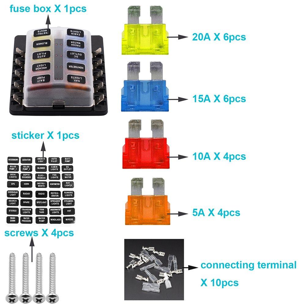 XCSOURCE Caja de fusibles blade de 10 vías, bloques de fusibles ATO/ATC, fusible incluido con indicador LED para fusible fundido para automoción MA1360: ...