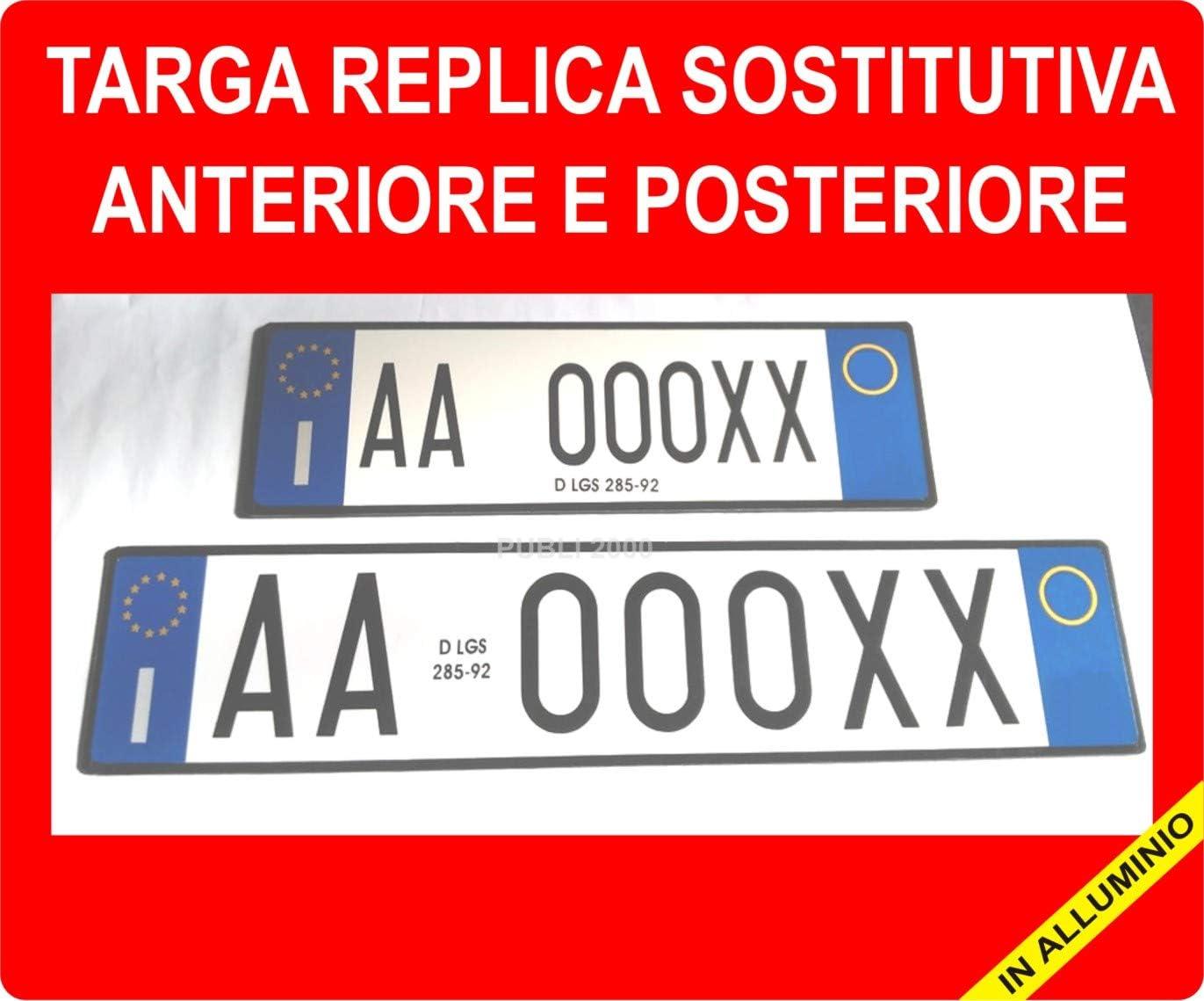 TEL Targa Auto Replica Sostitutiva in Alluminio Anteriore Personalizzabile Codice della Strada Art.102 D.LGS 30//4//1992 n.285 COMUNICARE Il Numero di Targa A: Mail: publi2000@Libero.it 3282918072
