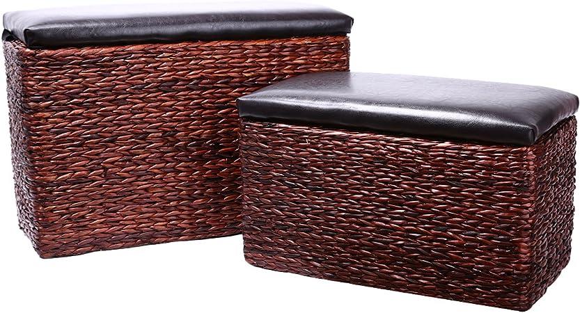 Eshow Baules de Almacenaje de Mimbre Baules Arcones y Baules Dormitorio Decorativos Marron Juego de Baul 62x27x43cm: Amazon.es: Hogar