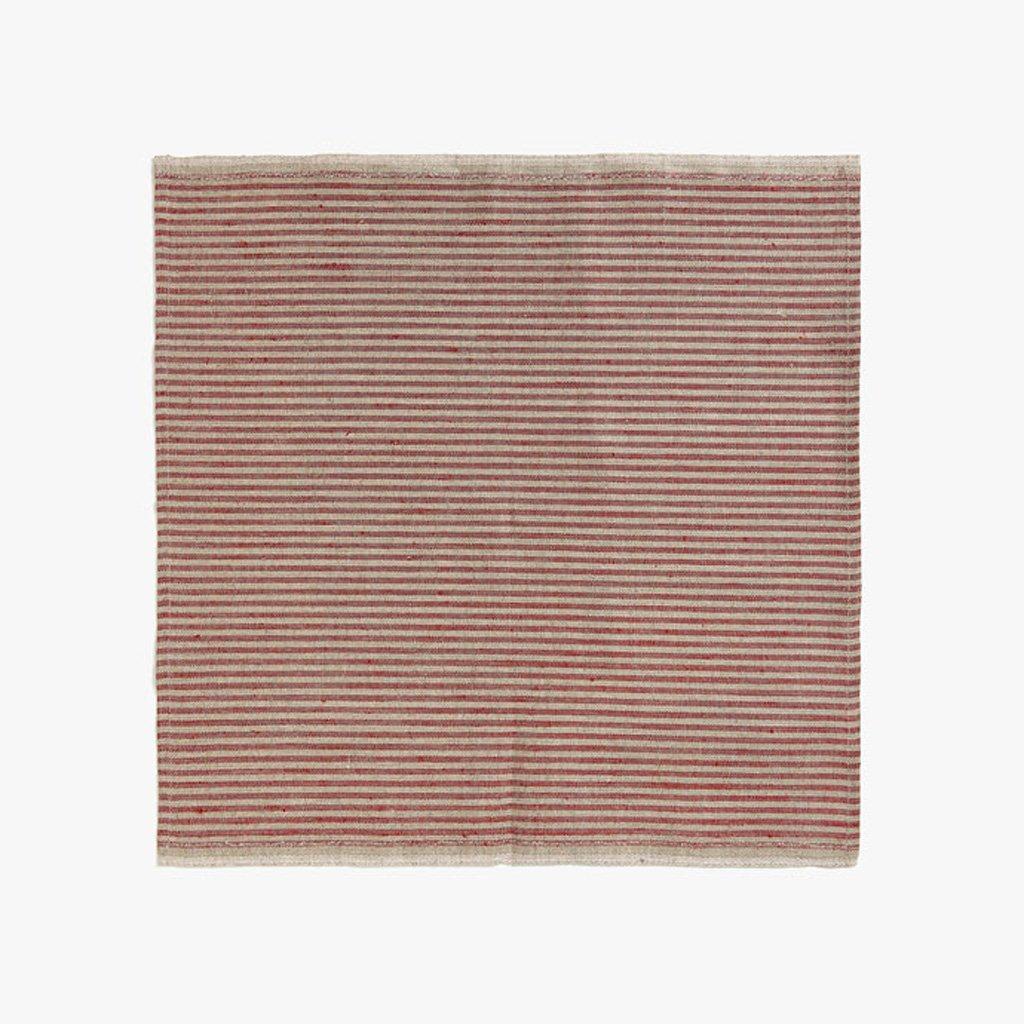 MXJ61 Rote Streifen Flachs Serviette Tuch Mund Tuch 45  45 cm 4 Teile / satz