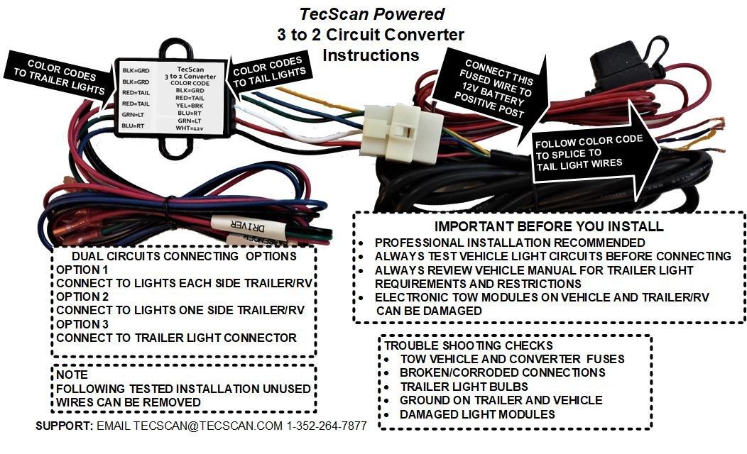 Amazon.com: TecScan TecScan-LiTESeasy-POWERED-3-To-2-Wire-Trailer ...