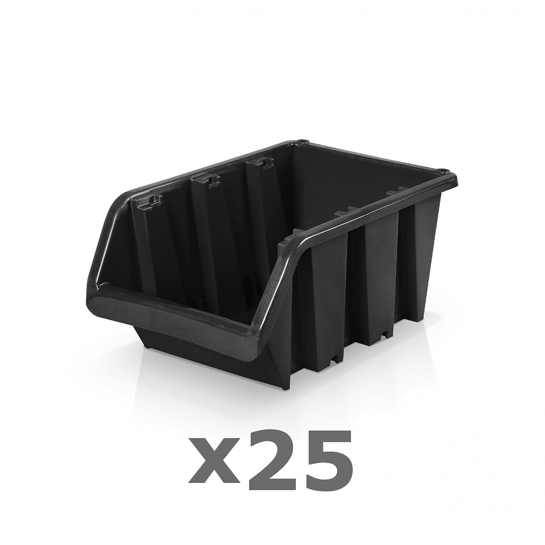 25 Stü ck Sichtlagerboxen Grö ß e 3 - schwarz (19, 5 x 12 x 9 cm) BERGLAND