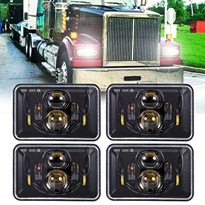 TRUCKMALL 4x6 inch LED Headlights Rectangular Lights Set, Compatible with H4651 H4652 H4656 H4666 H6545, for Peterbil Kenworth Freightinger Ford Probe Chevrolet Oldsmobile Cutlass, Black: Automotive