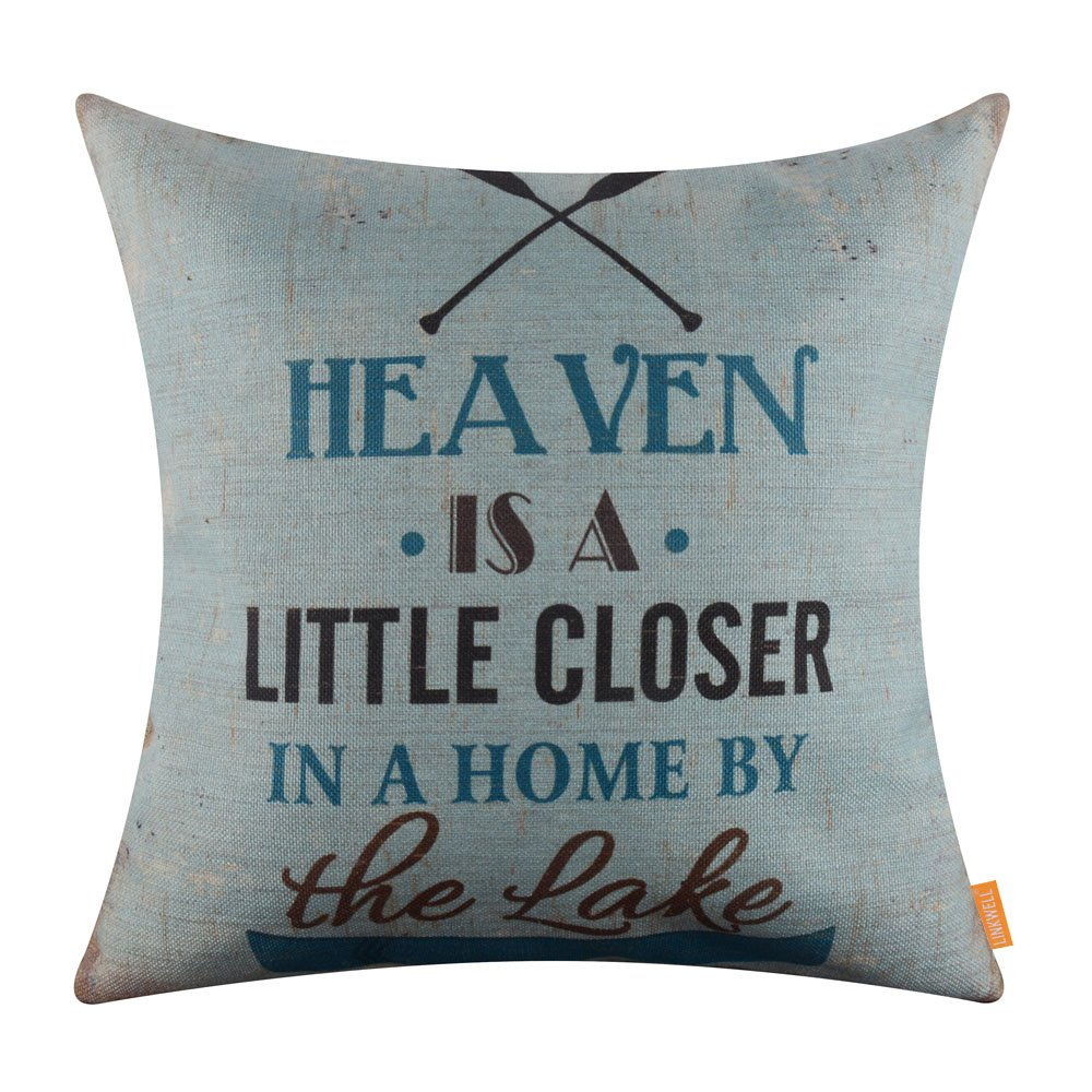 LINKWELL 18x18 inches Vintage Light Blue Lake Ship Quote Theme Burlap Pillow Cover Throw Cushion Cover (CC1275)