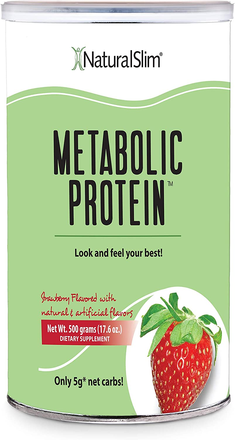 """NaturalSlim Meal Replacement Whey Protein Shakes, Natural Aid for a """"Slow Metabolism"""" with Ingredients to Suppress Appetite and Start of Your Day Burning Fat- Great Taste and Very Filling (Strawberry)"""