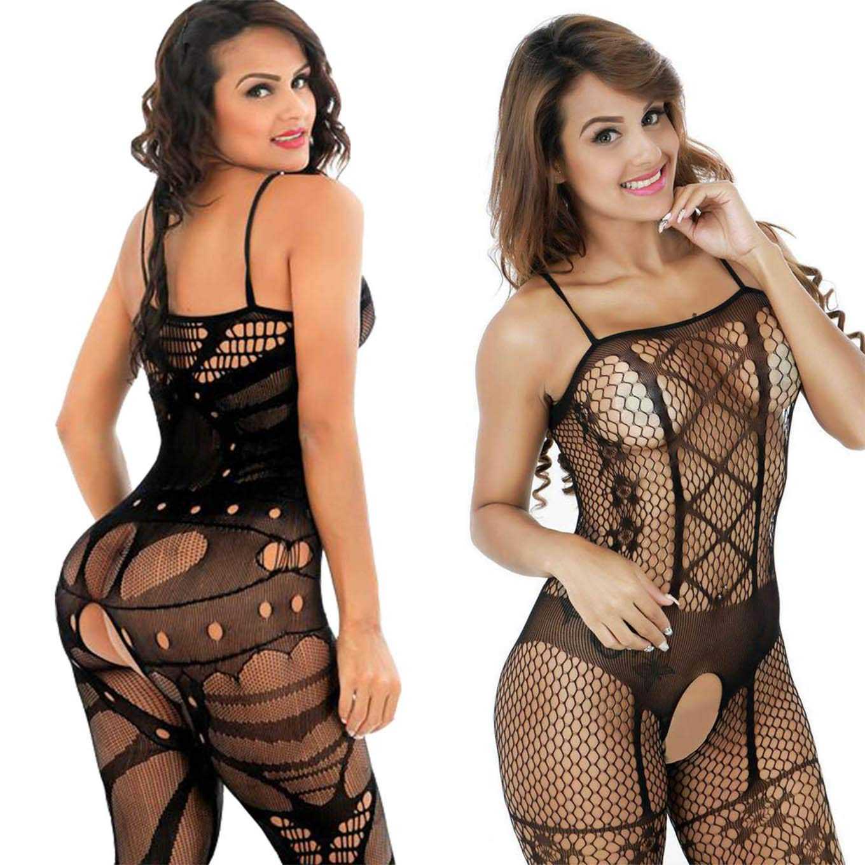 Donna Vestito da Notte, Cavallo Aperto Maglia Pesce Netto Calza Corpo Body Lingerie Camicia da Notte Nero pack of 2