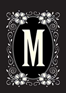 Toland Home Garden Classic Monogram M 12.5 x 18 Inch Decorative Flower Initial Garden Flag
