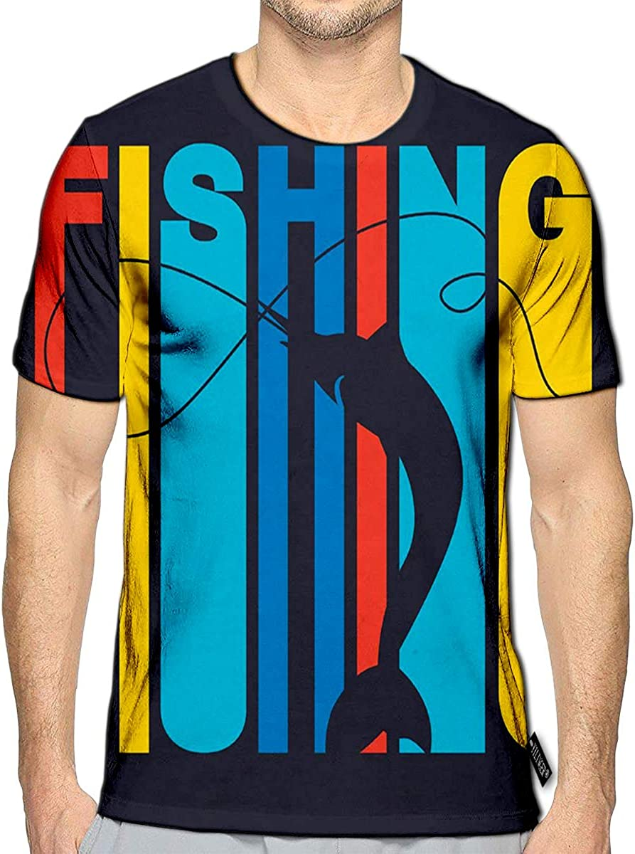 3D Printed T-Shirts Colorful Flat Style Signature Fishing Swordfish Silhouette As Short Sleeve Tops Tees