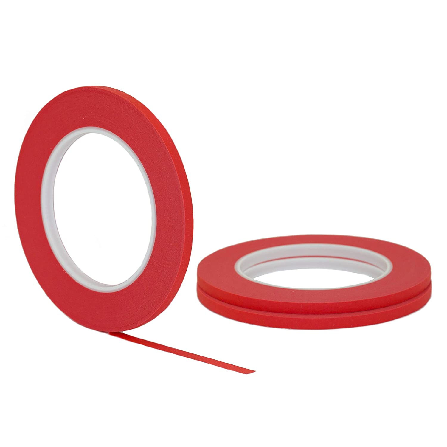 .25 in 6MM 3 pk 1//4 inch x 60yd STIKK Red Painters Tape 14 Day Clean Release Trim Edge Thin Narrow Finishing Masking Tape