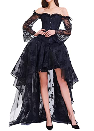 cb75b3e91f1 Burvogue Women s Gothic Bustiers Steampunk Corset Dress High Low Lace Skirt  Costume (M