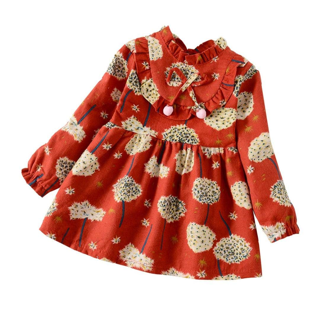 HOT! HOT! 0-5 Years Old, New Toddler Baby Girls Long Sleeve Floral Flower Print Dress Outfits Clothes