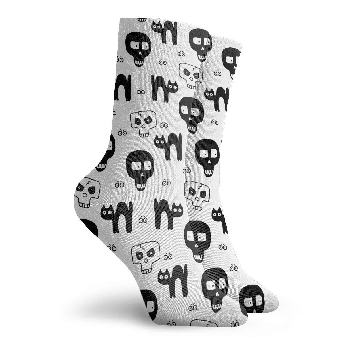 Unisex Skulls Hand Drawn Pattern For Halloween Athletic Quarter Ankle Print Breathable Hiking Running Socks