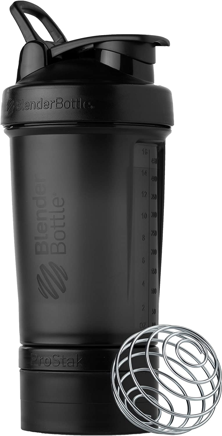 BlenderBottle Shaker Bottle with Pill Organizer and Storage for Protein Powder, Classic V2 ProStak System, 22-Ounce, Midnight Black