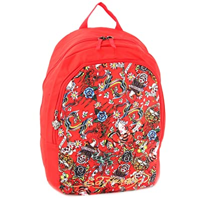 476a0e49d7bb Amazon.com  Ed Hardy Josh All Over Collage Backpack - Red  Shoes