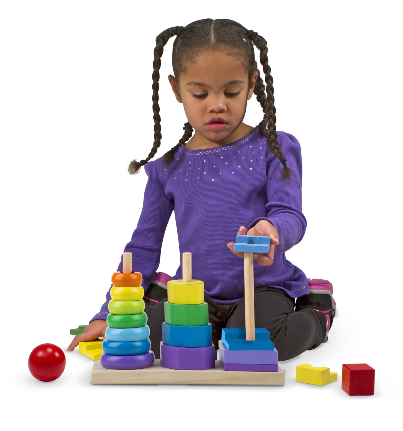 Melissa And Doug Educational Toys : Melissa and doug geometric stacker wooden baby toddlers