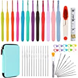 ALL-in-One Crochet Hooks Set PLUS Large-Eye Blunt Needles Yarn Knitting with Case and More Accessories! Ergonomic Handle for EXTREME COMFORT. Ultimate Choice and Perfect Gift!