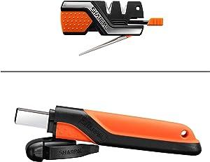 SHARPAL Pocket Knife Sharpener & Survival Tool with Fire Starter Whistle & Diamond Sharpening Rod, Multipurpose Garden Pruner Lopper Hedge Shear Scissor Axe Hatchet Machete Lawn Mower Blade Sharpener