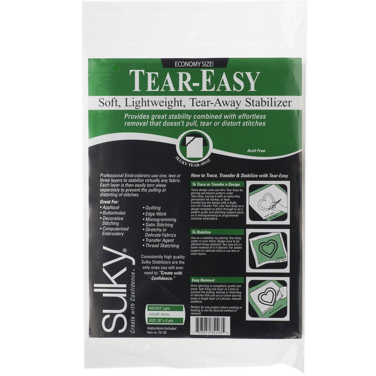 Sulky Tear Easy Fabric Stabilizer, 20-Inch by 3-Yard Notions - In Network 751-03