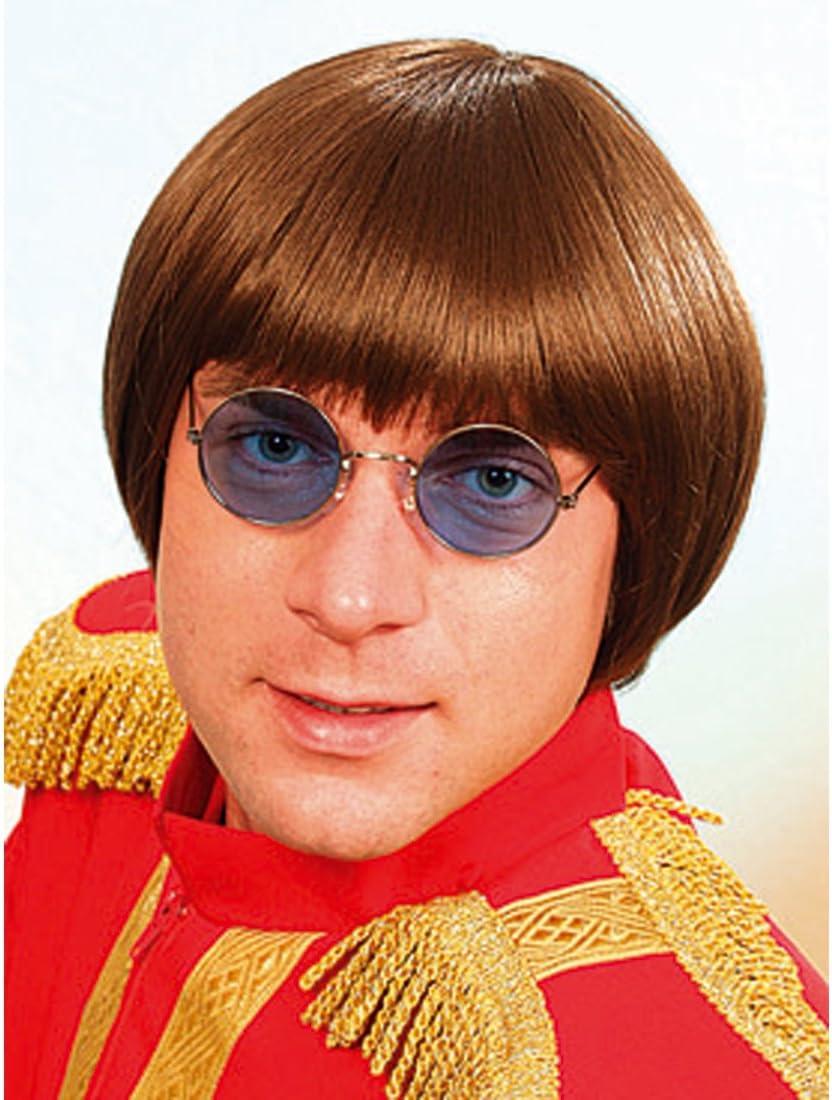NET TOYS Perruque t/ête de Bois Brune Perruque de Carnaval Perruque de Star Perruque Masculine Beatles Brune